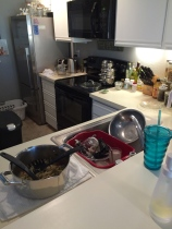 The kitchen, post pasta making.  Thank goodness my beloved loves to wash dishes.  Seriously.